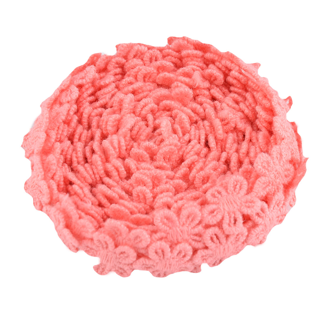 Home Cotton Blends Flower Design DIY Clothing Decorative Lace Trim Applique Coral Pink