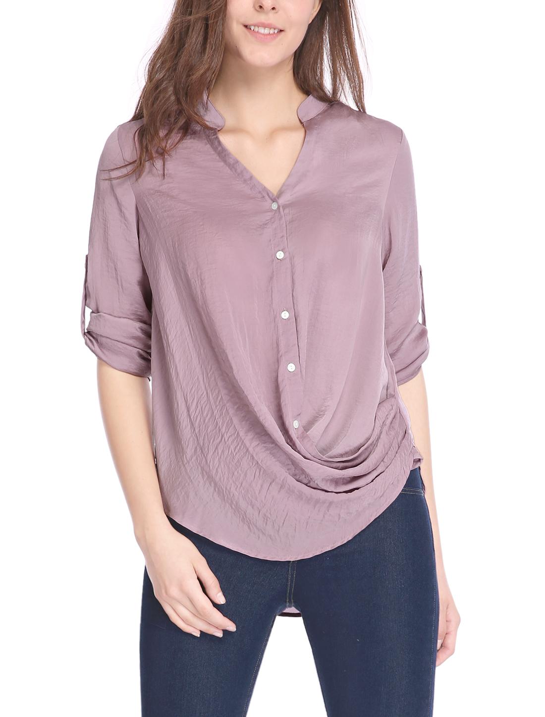 Women Bracelet Sleeves Single Breasted Loose Overlap Top Purple XL