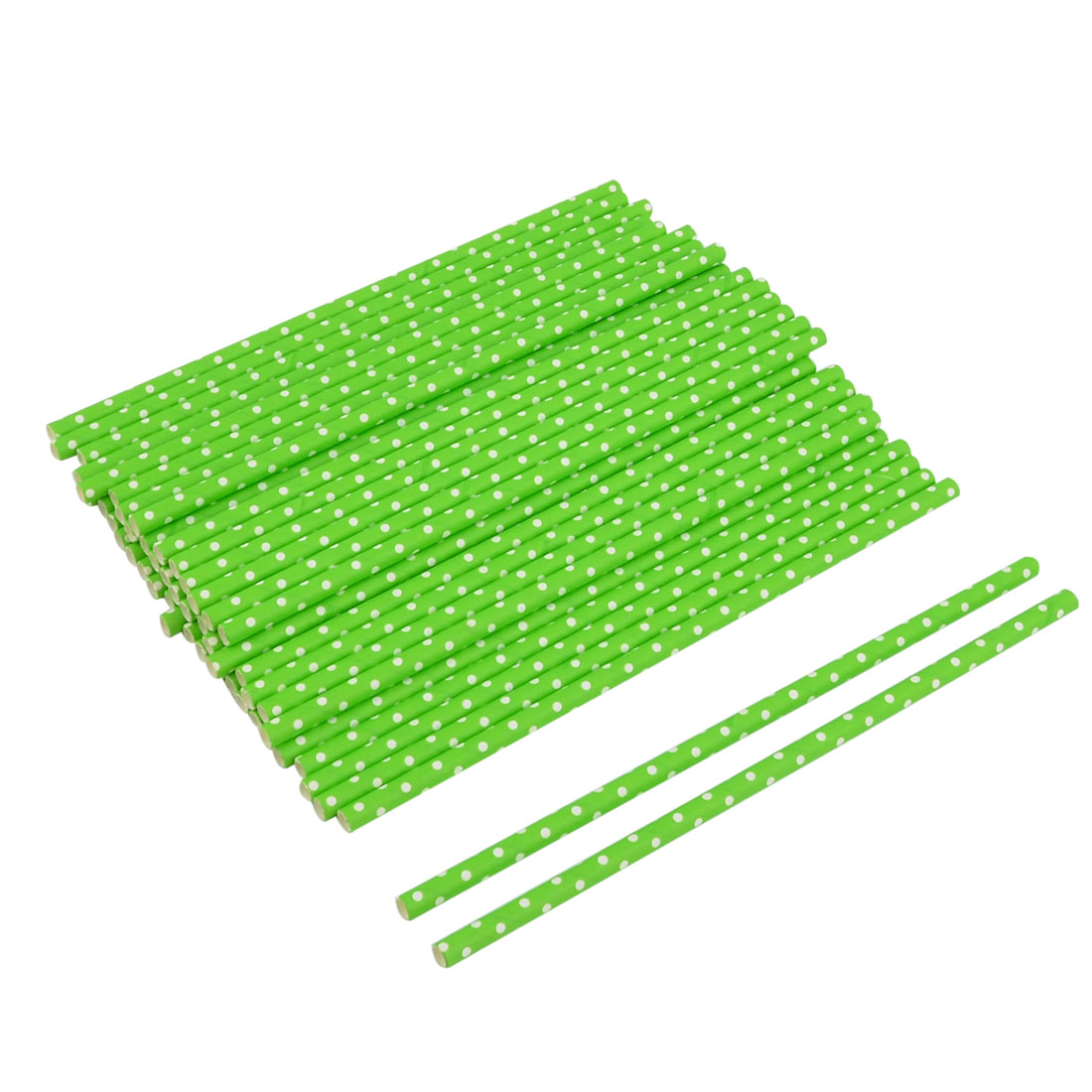 Home Party Paper Dot Print Juice Water Drinking Disposable Straws Green 50 Pcs