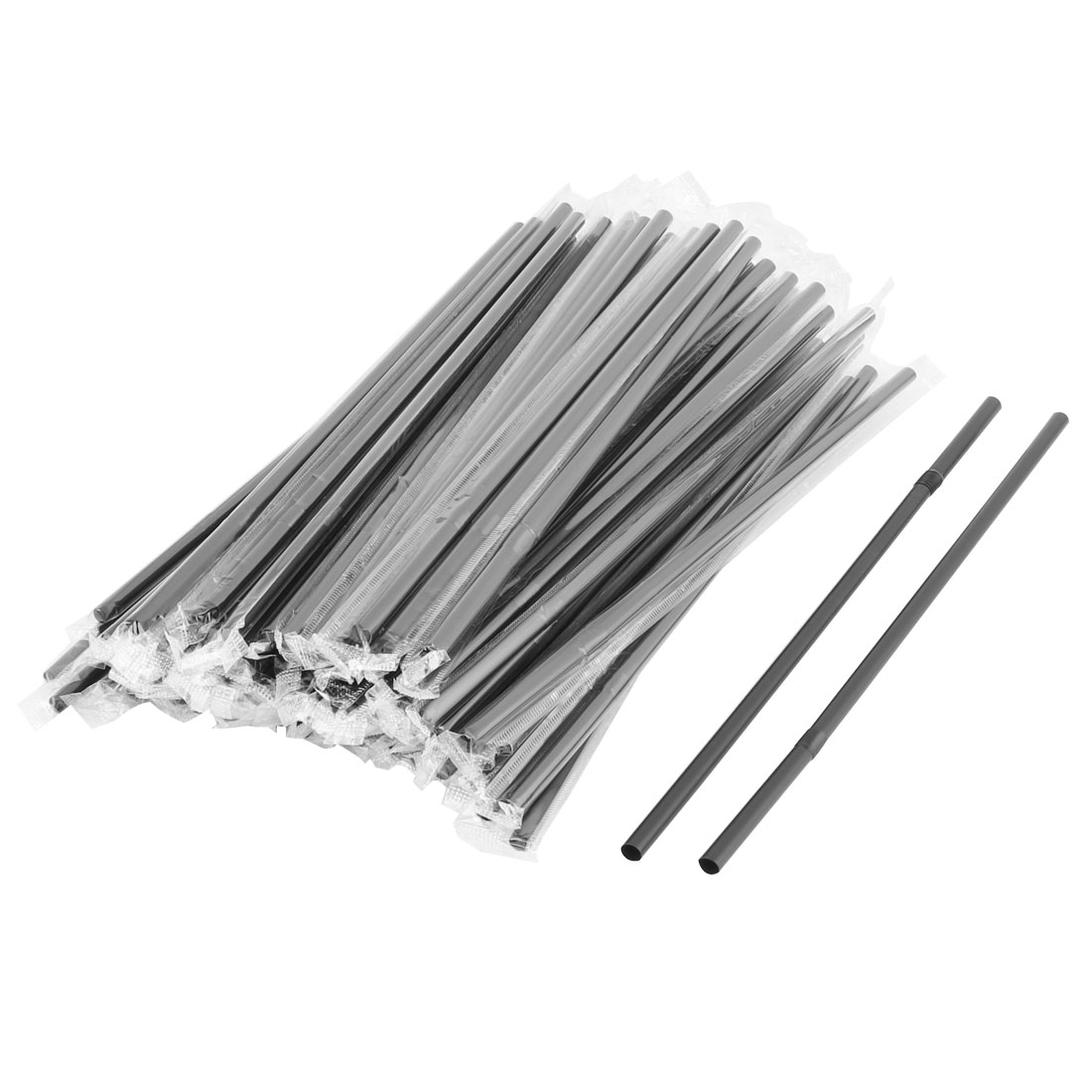 Household Kitchen PP Drinking Water Coffee Juice Tea Disposable Straws Black 100 Pcs