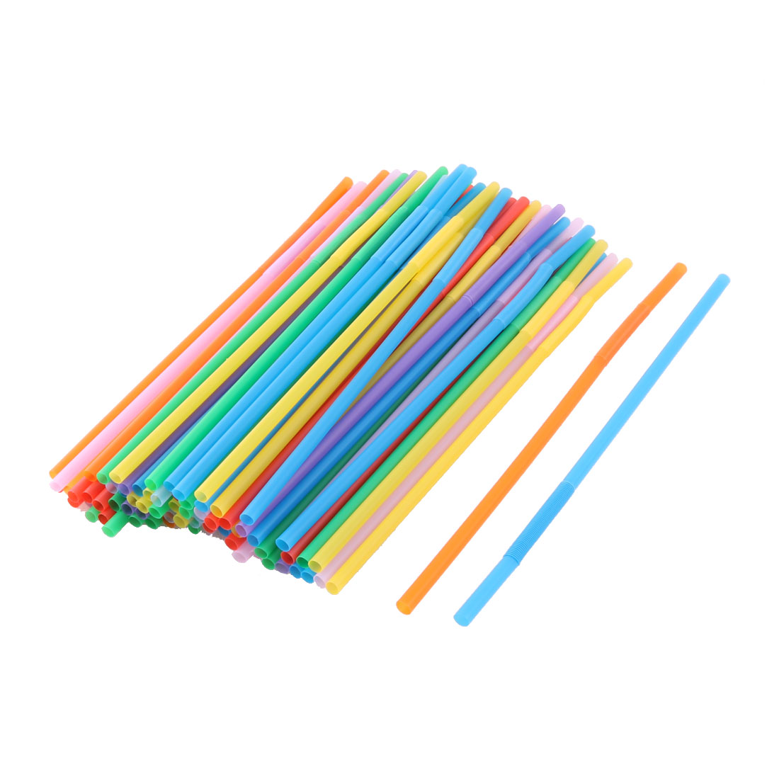 Home Restaurant PP Drinking Water Coffee Juice Tea Disposable Straws Assorted Color 80 Pcs