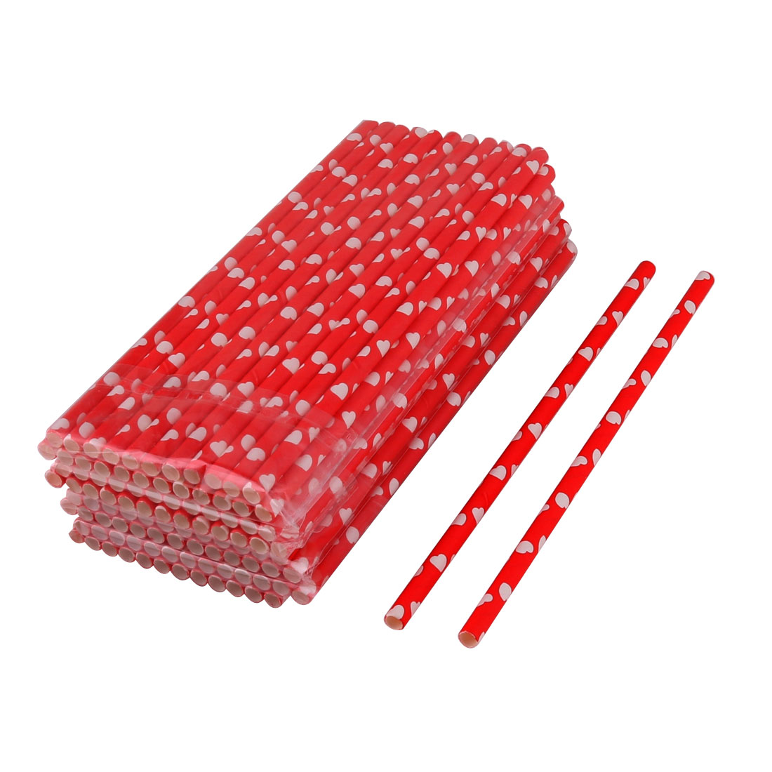 Birthday Party Paper Heart Pattern Disposable Drinking Water Juice Straw Red White 100pcs