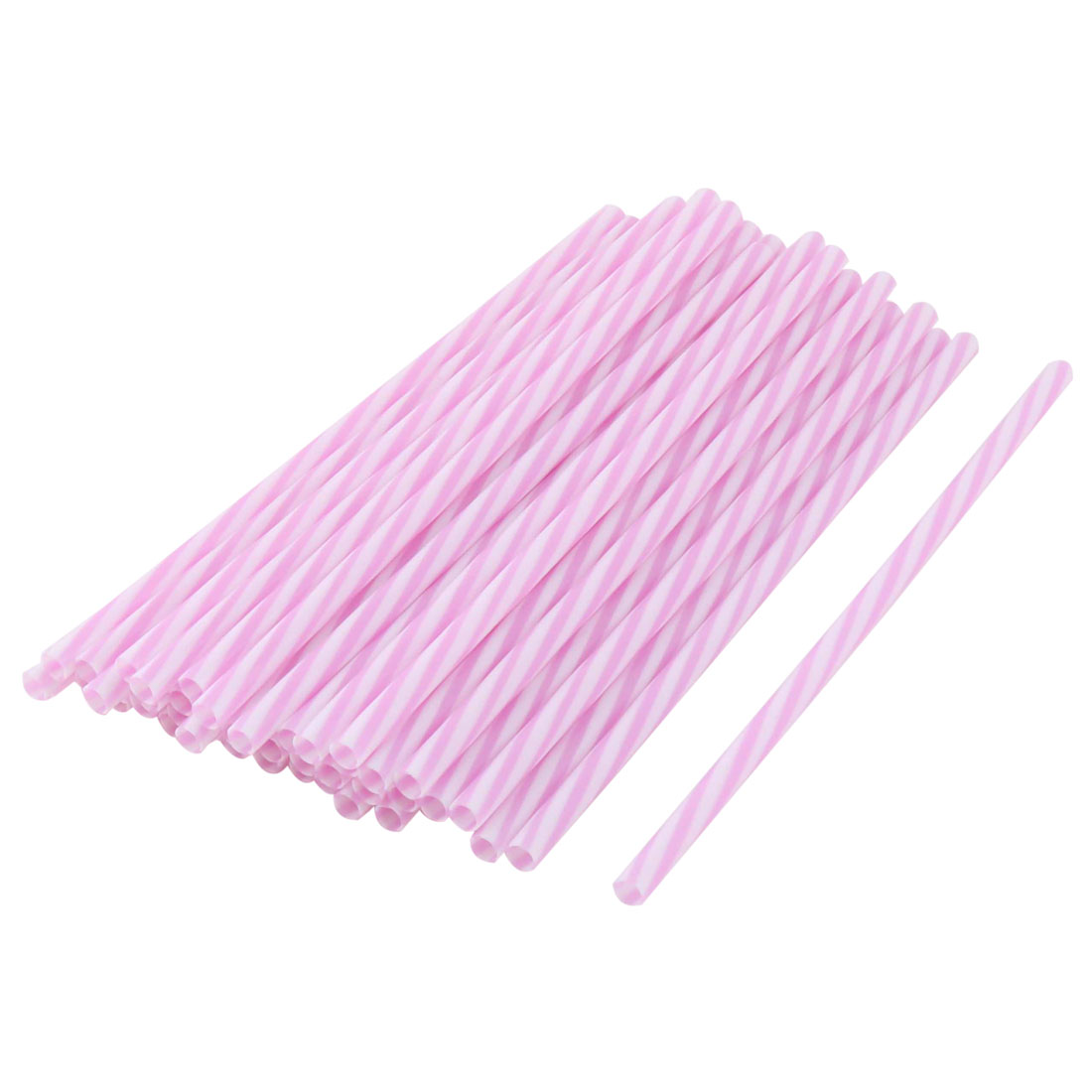 Cold Drinking Shop PP Stripe Print Milk Soda Disposable Straws 50pcs 22cm Length