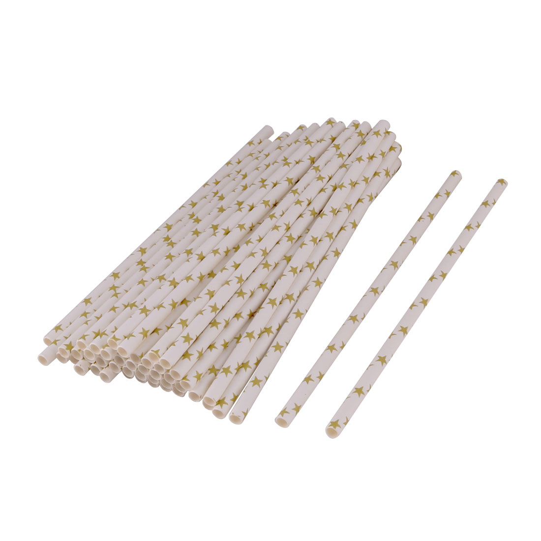 Household Kitchen Paper Star Pattern Drinking Water Coffee Juice Tea Disposable Straws Glod Tone 50 Pcs