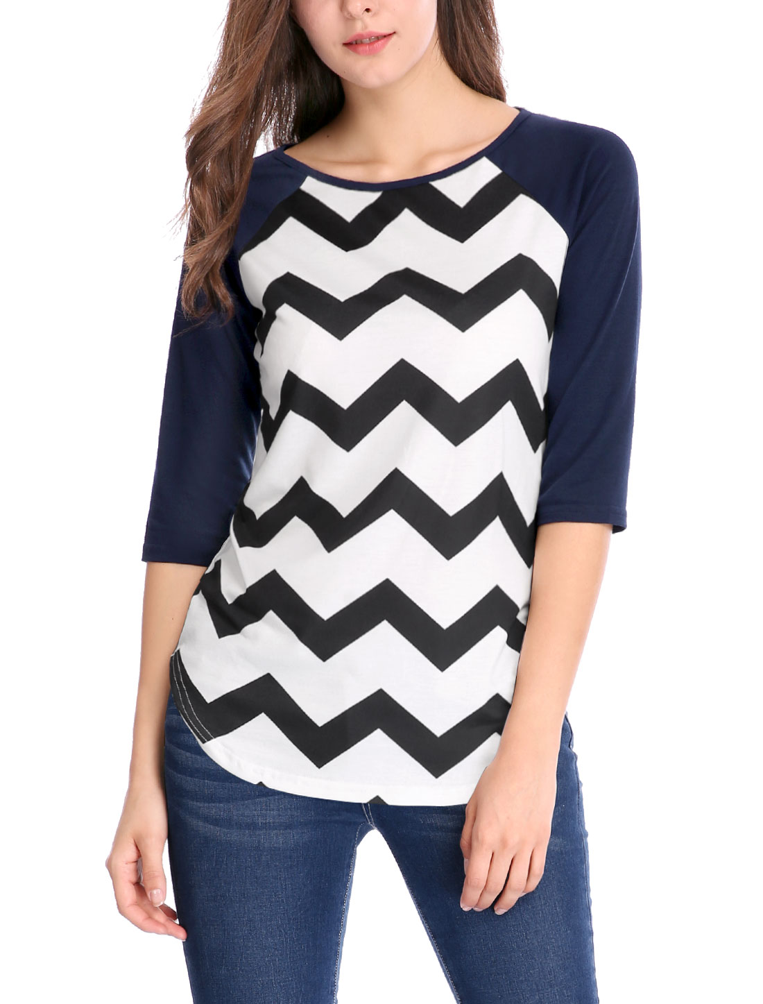 Women Chevron Contrast Color 3/4 Raglan Sleeves Top White S