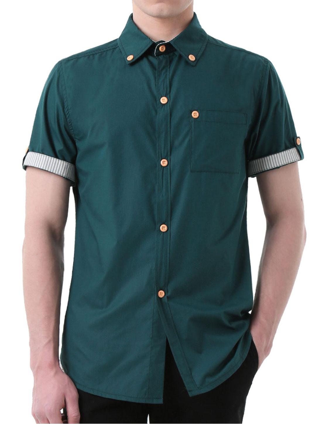 Men Short Sleeves Stitching Detail Button Down Shirts Dark Green L