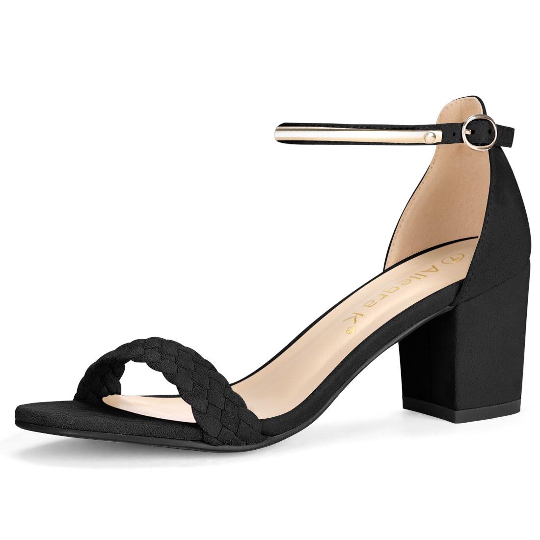 Women Open Toe Mid Heel Braided Ankle Strap Sandals Black US 6