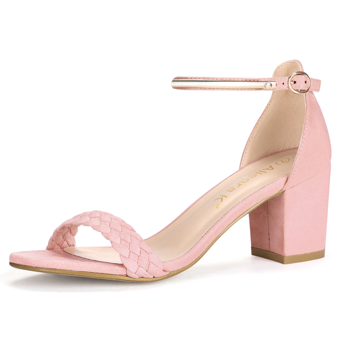 Women Open Toe Mid Heel Braided Ankle Strap Sandals Pink US 5
