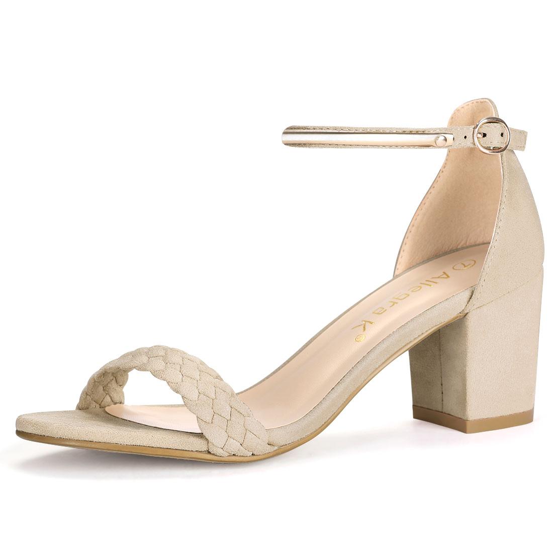 Women Open Toe Mid Heel Braided Ankle Strap Sandals Beige US 10