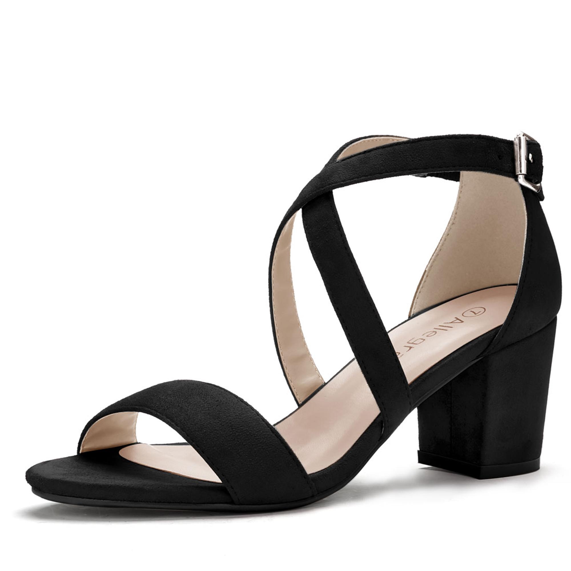 Women Open Toe Cross Strap Mid Block Heel Sandals Black US 5