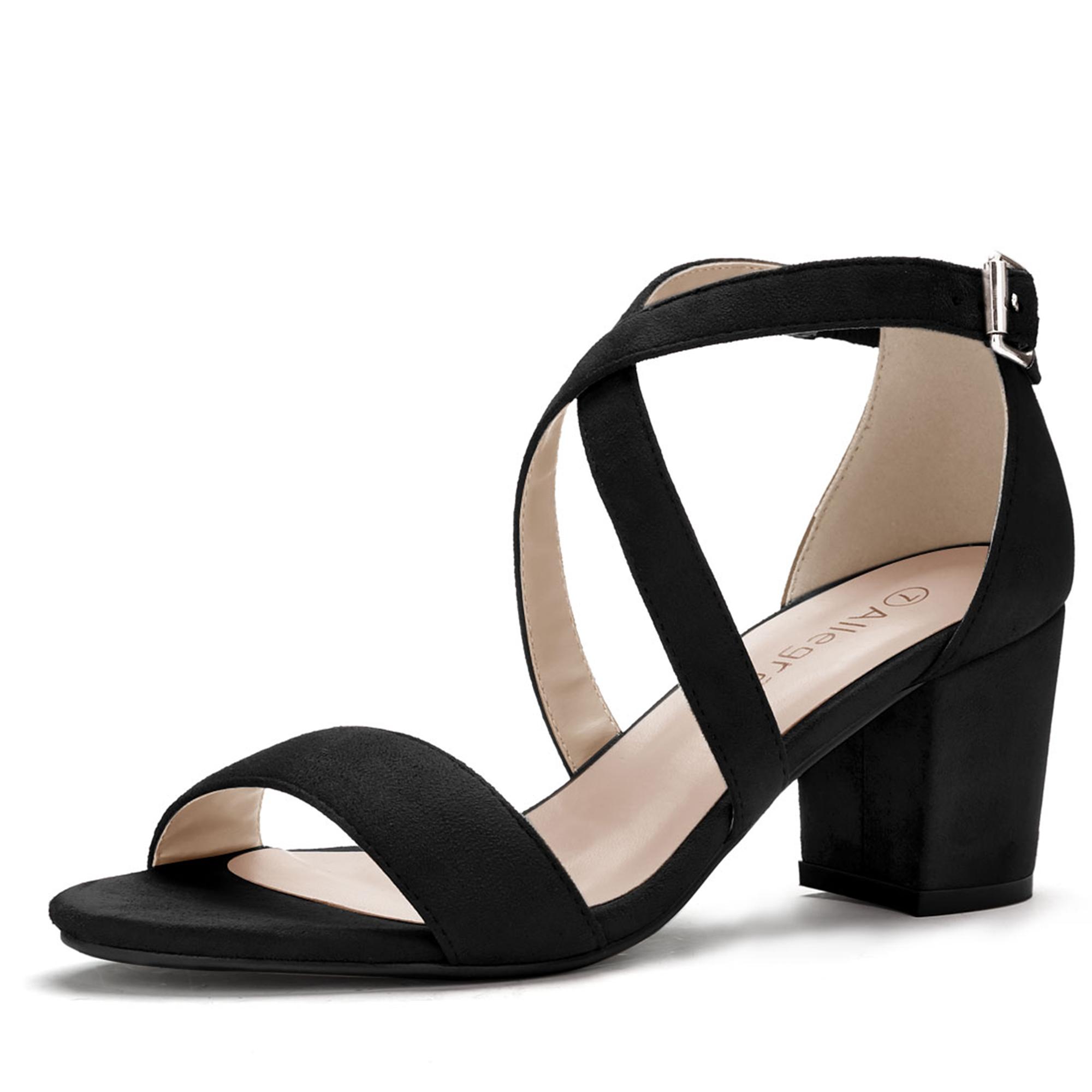 Women Open Toe Cross Strap Mid Block Heel Sandals Black US 7