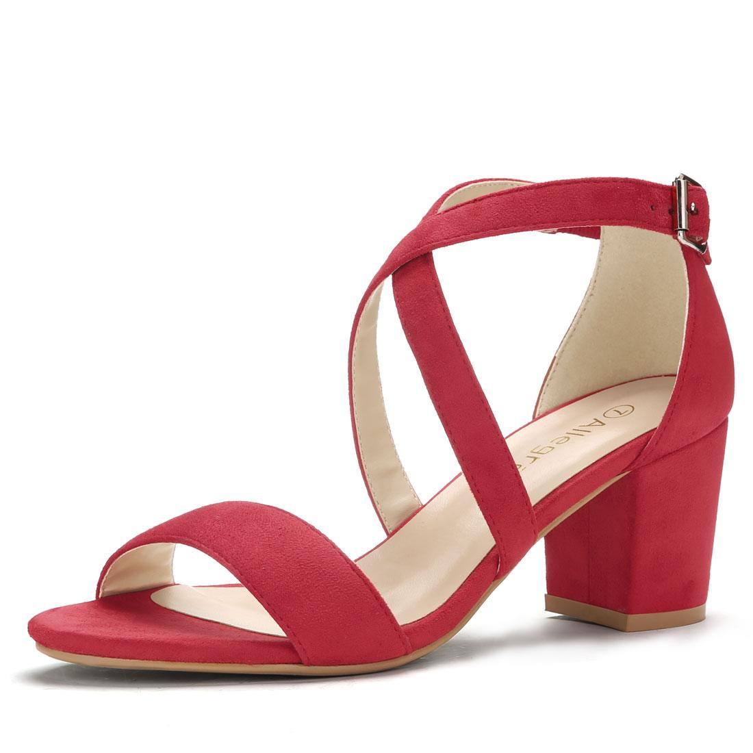 Women Open Toe Cross Strap Mid Block Heel Sandals Red US 5