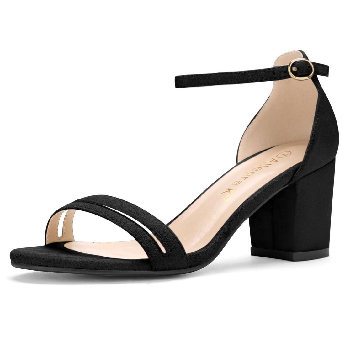 Women Open Toe Mid Chunky Heel Ankle Strap Sandals Black US 9