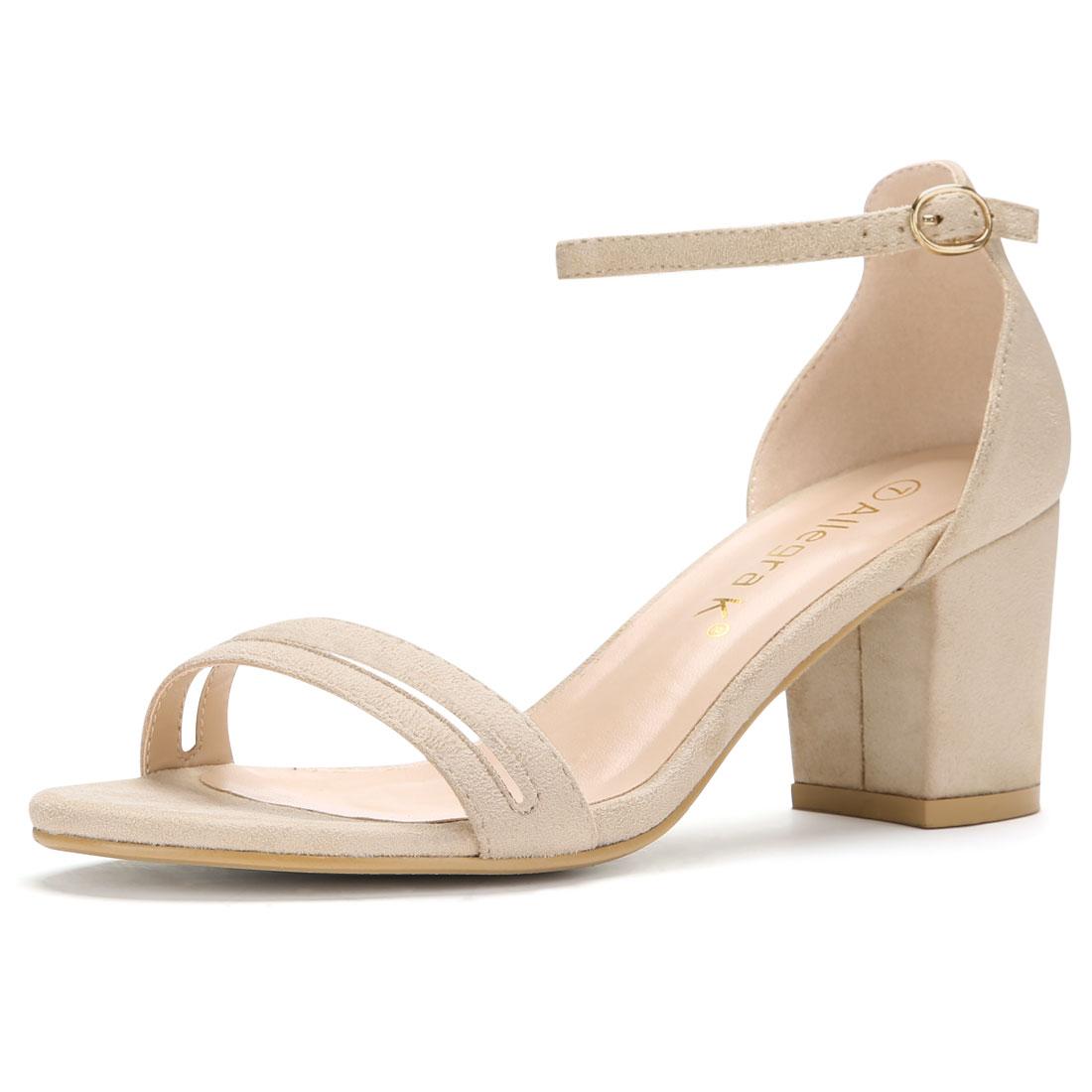 Women Open Toe Mid Chunky Heel Ankle Strap Sandals Beige US 10