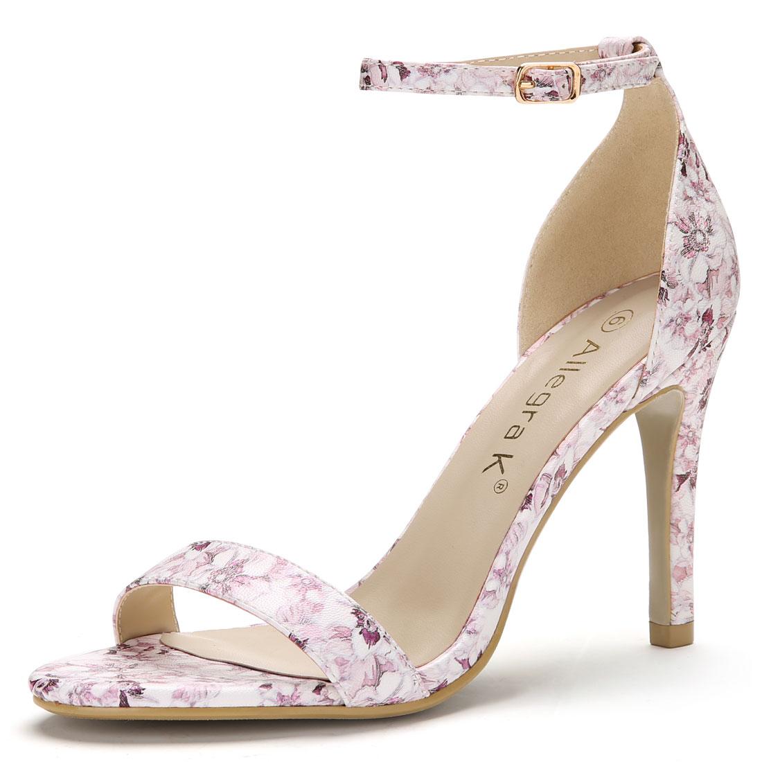 Women Floral Prints Stiletto Heel Ankle Strap Sandals Light Purple US 7