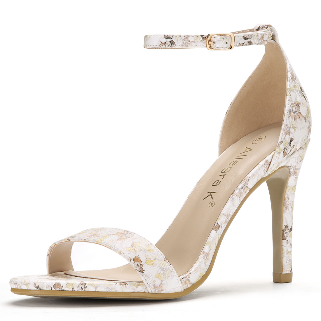 Women Floral Prints Stiletto Heel Ankle Strap Sandals Light Yellow US 5