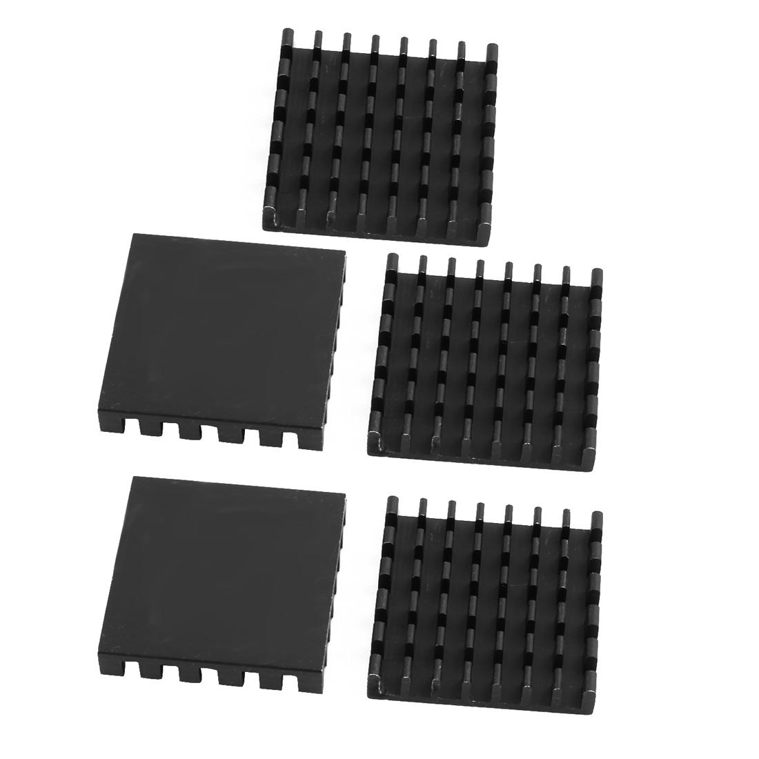5Pcs 25mm x 25mm x 5mm Aluminum Heatsink Heat Diffuse Cooling Fin Black