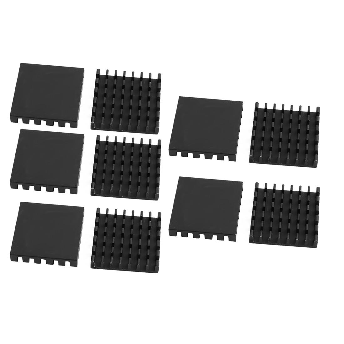 10pcs 25mmx25mmx5mm Black Aluminum Heatsink Heat Diffuse Cooling Fin