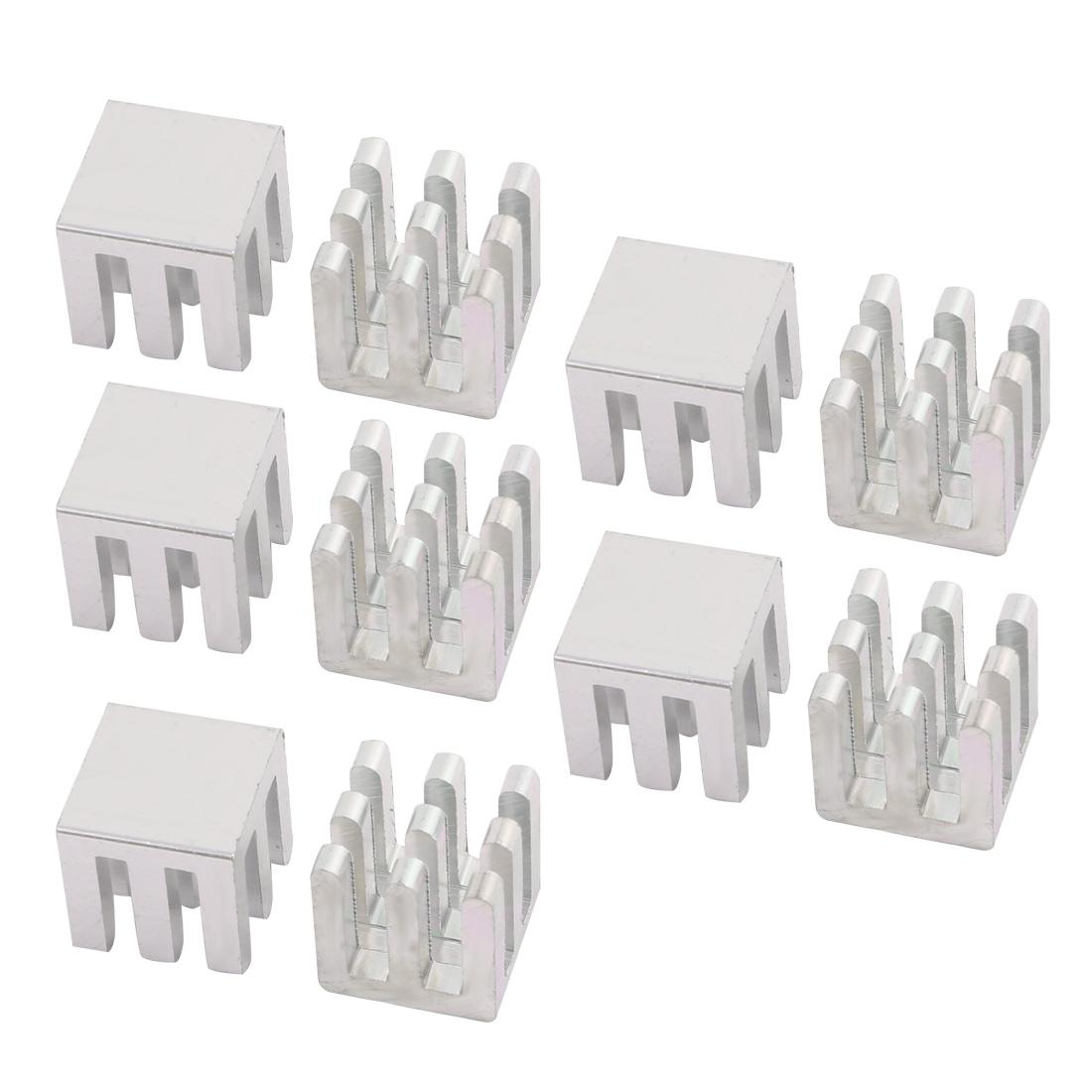 10Pcs 10mm x 10mm x 10mm Aluminum Heatsink Heat Diffuse Cooling Fin Silver Tone