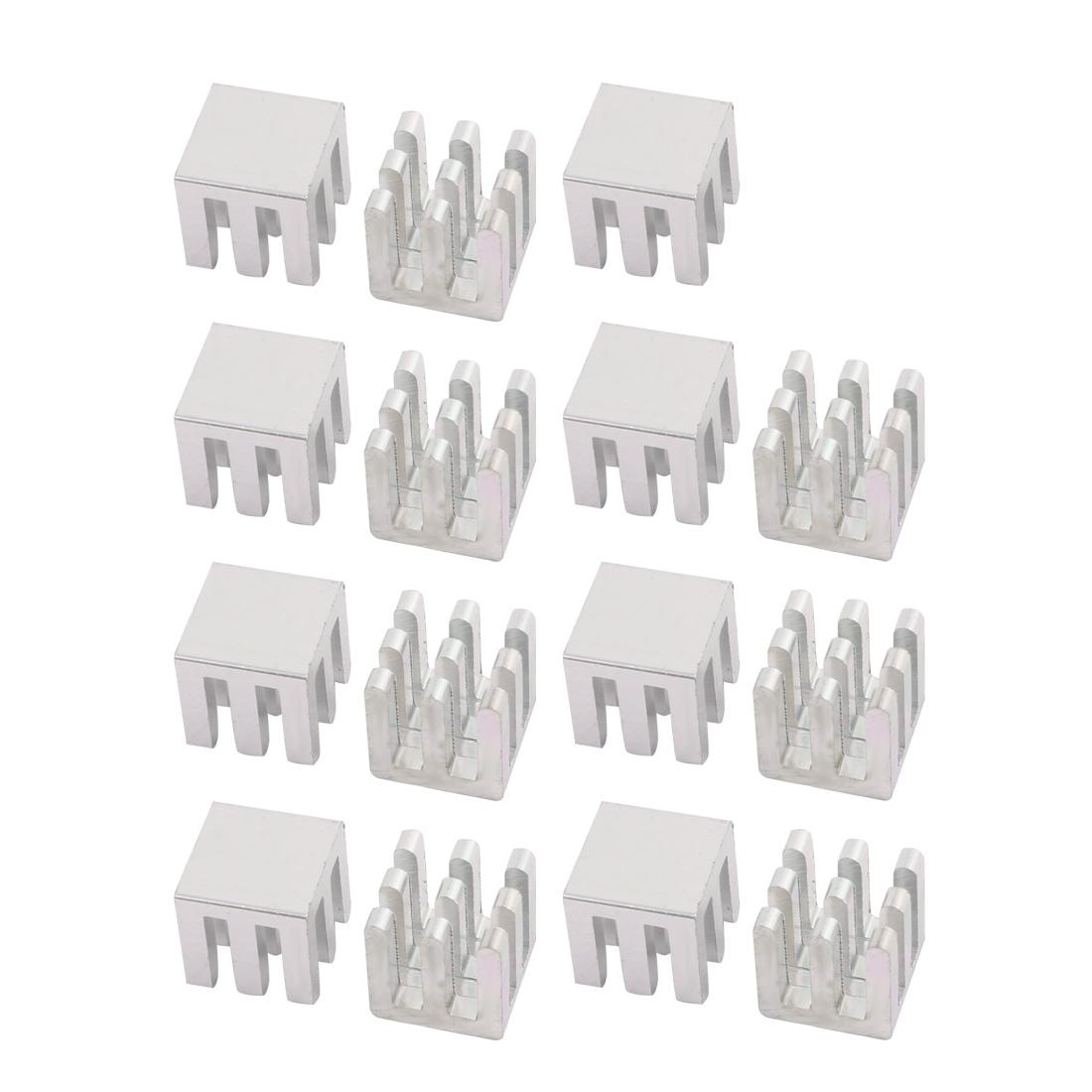 15Pcs 10mm x 10mm x 10mm Aluminum Heatsink Heat Diffuse Cooling Fin Silver Tone