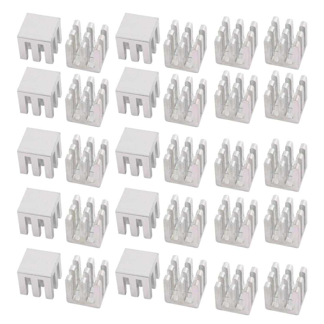 30Pcs 10mm x 10mm x 10mm Aluminum Heatsink Heat Diffuse Cooling Fin Silver Tone