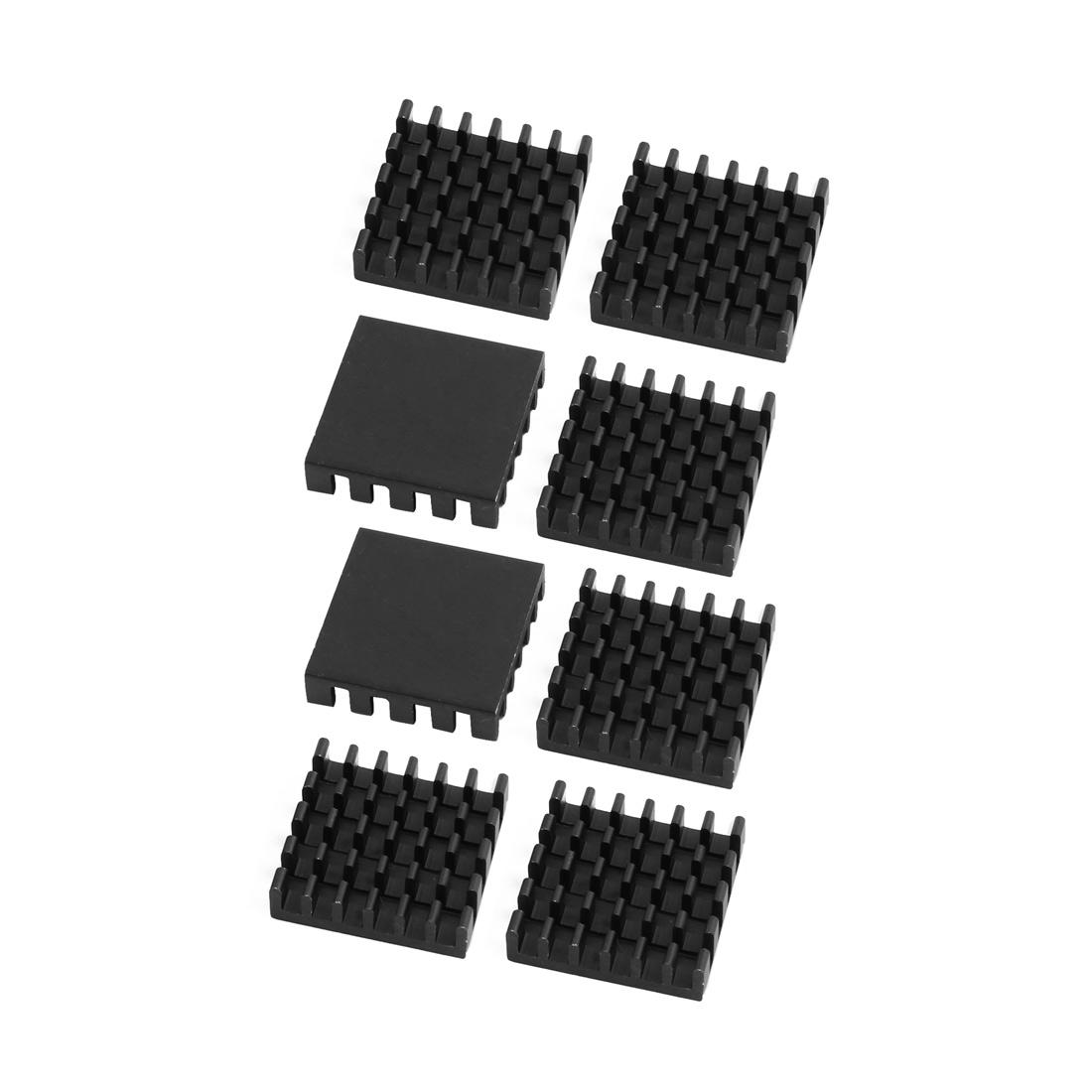 8Pcs 19mmx19mmx5mm Aluminum Heatsink Heat Diffuse Cooling Fin Black