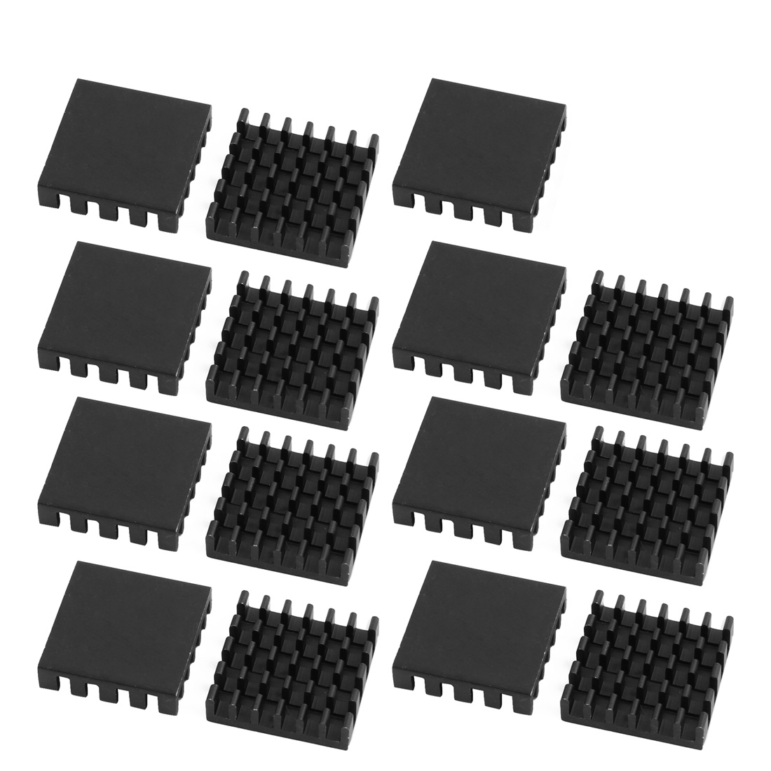 15Pcs 19mm x 19mm x 5mm Aluminum Heatsink Heat Diffuse Cooling Fin Black