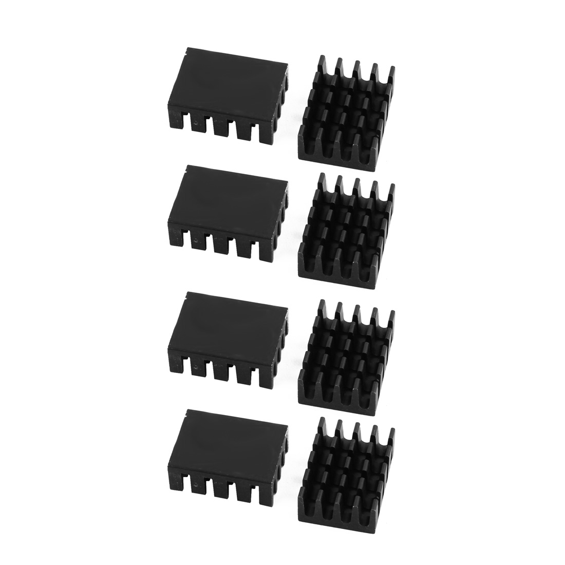 8Pcs 20mm x 14mm x 7mm Aluminum Heatsink Heat Diffuse Cooling Fin Black