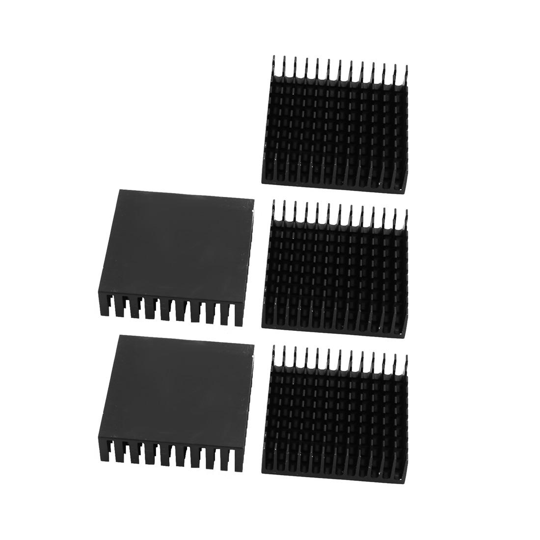 5pcs 40mmx40mmx11mm Black Aluminum Heatsink Heat Diffuse Cooling Fin