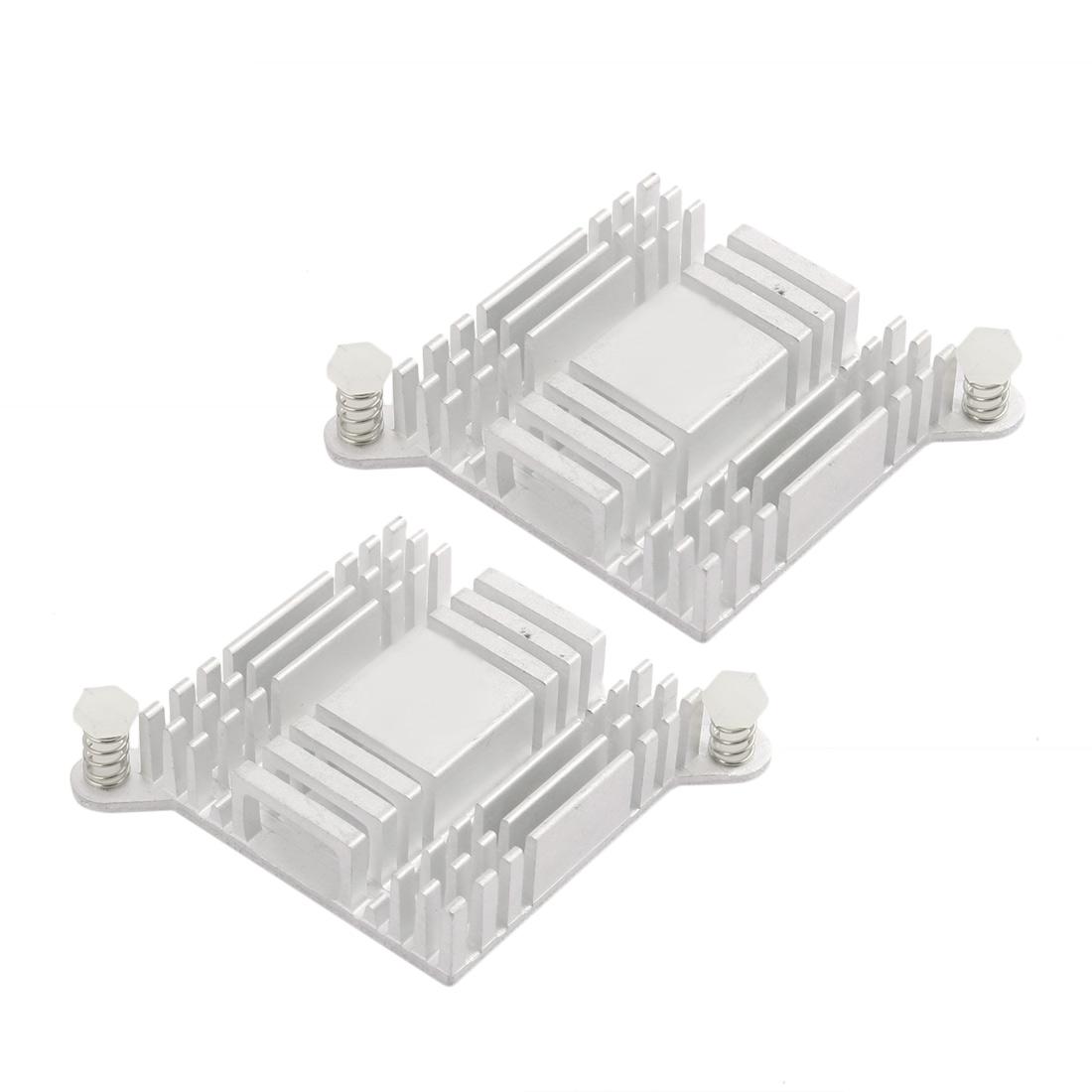 2Pcs 38mm x 38mm x 10mm Aluminum Heatsink Radiator Cooling Fin Silver Tone