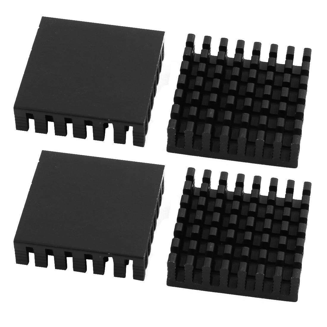 4Pcs 28mmx28mmx8mm Aluminum Heatsink Heat Diffuse Cooling Fin Black