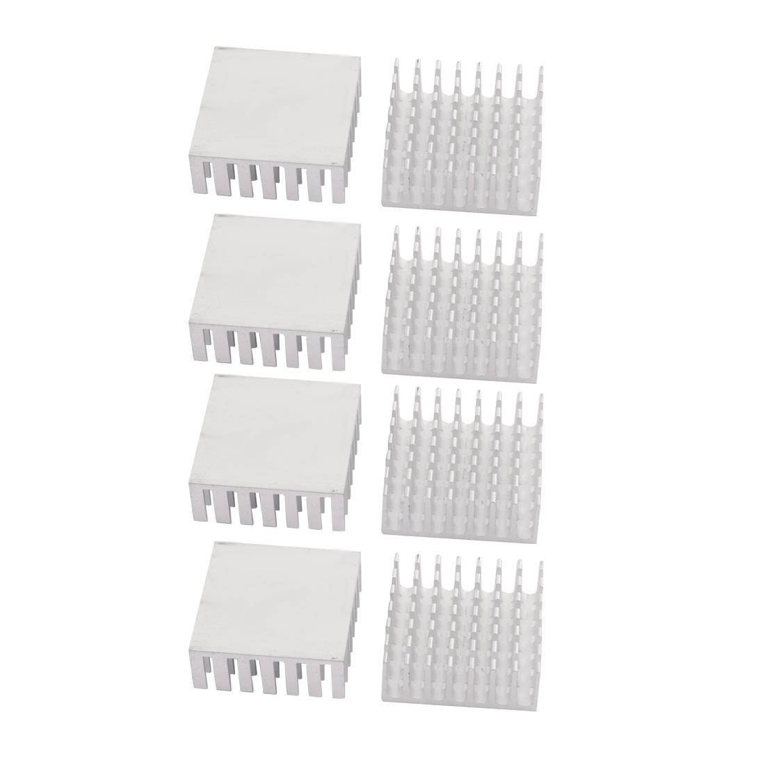 8pcs 28mmx28mmx11mm Aluminum Heatsink Heat Diffuse Cooling Fin