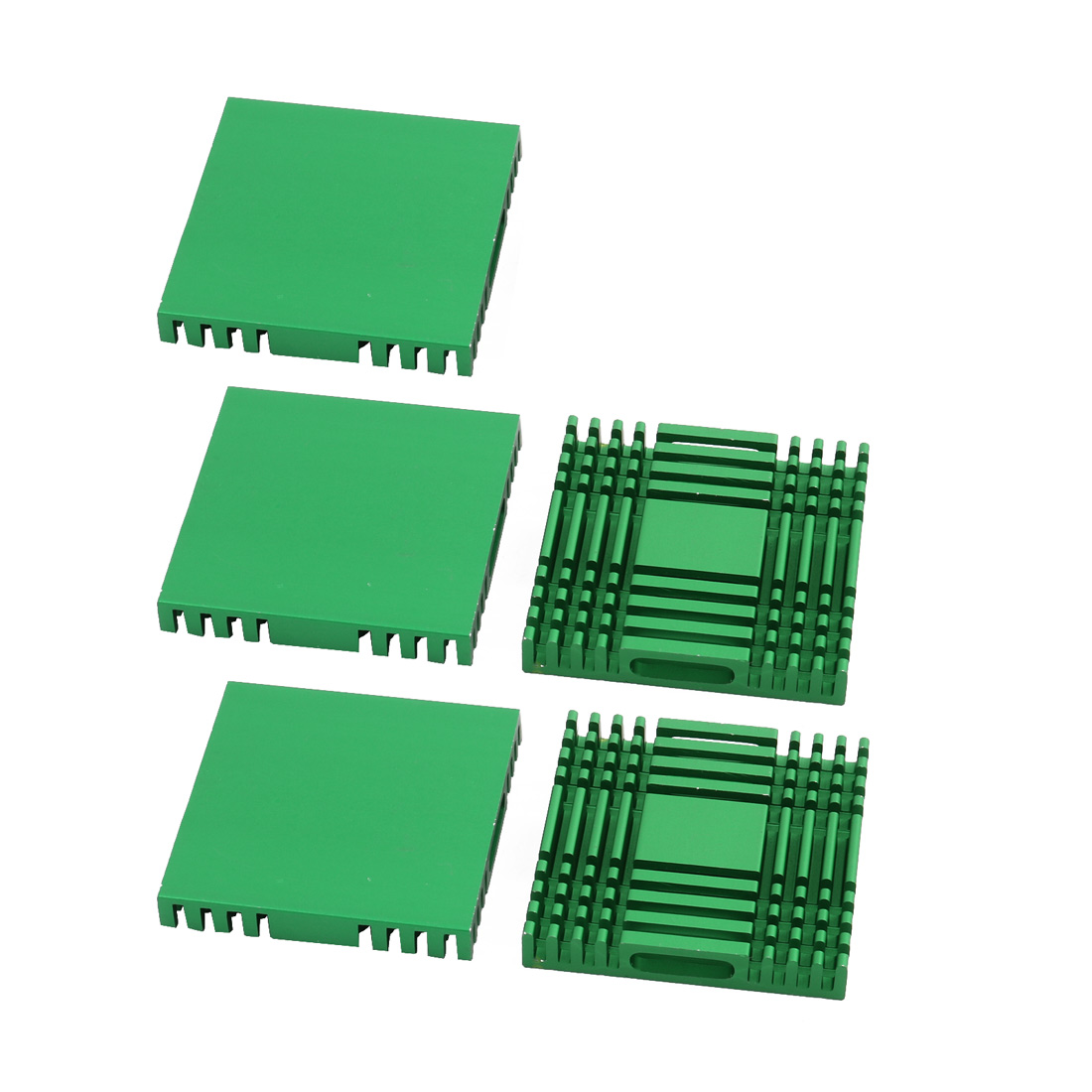 5Pcs 38mm x 38mm x 6mm Aluminum Heatsink Heat Diffuse Cooling Fin Green