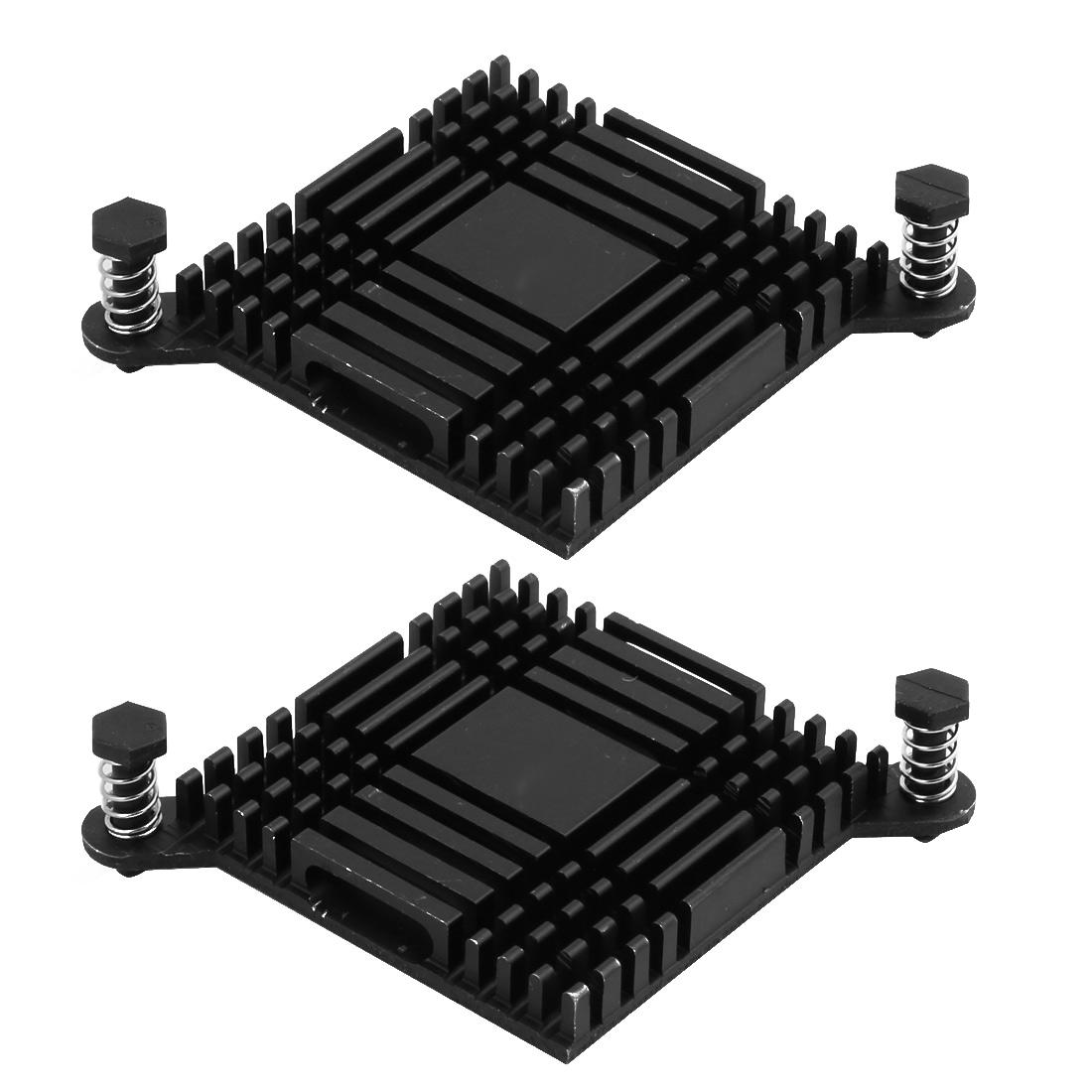 2pcs 38mmx38mmx6mm Black Aluminum Heatsink Heat Diffuse Cooling Fin