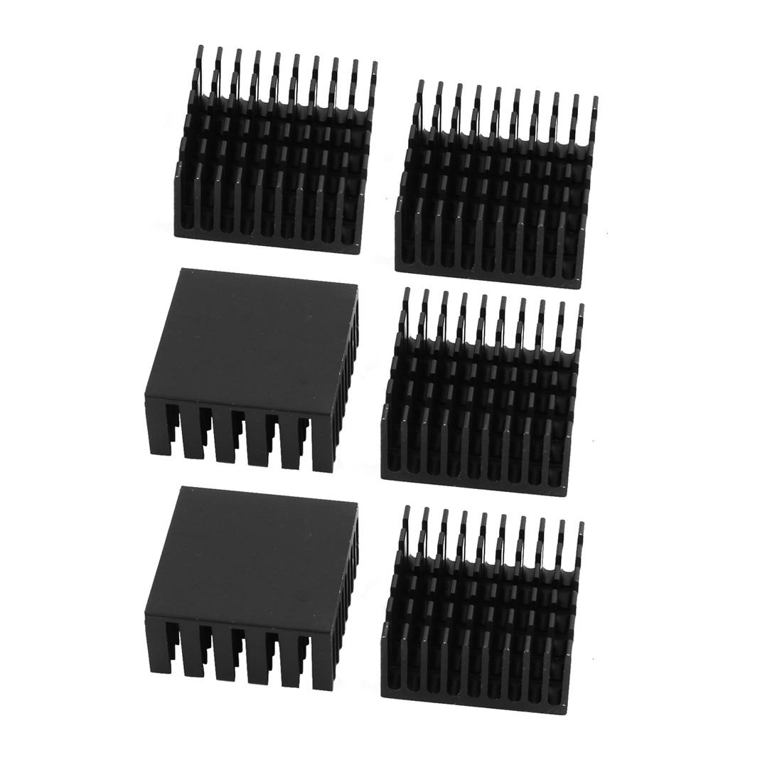 6Pcs 25mmx25mmx12mm Aluminum Heatsink Heat Diffuse Cooling Fin Black