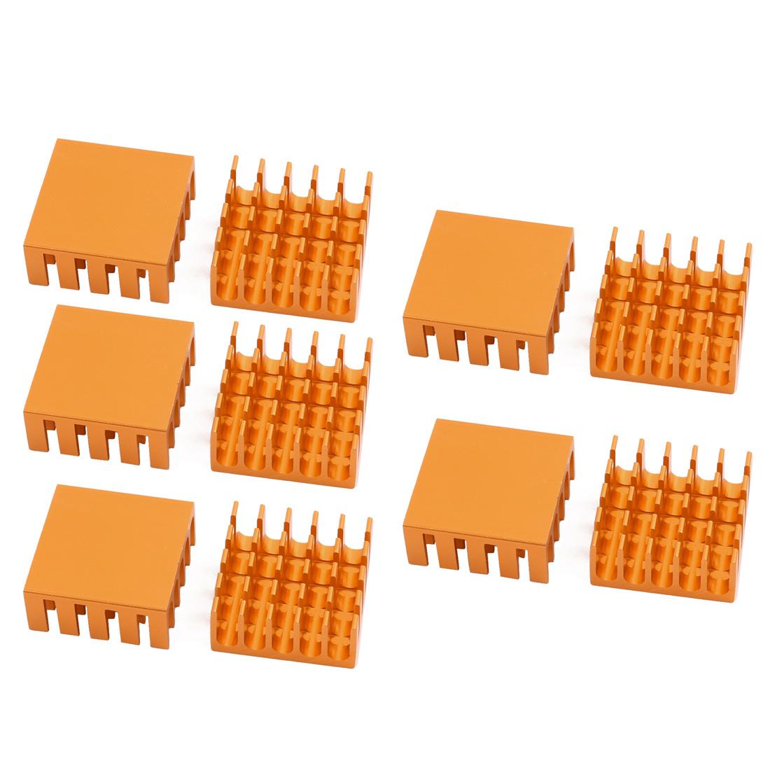 10Pcs 22mm x 22mm x 10mm Aluminum Heatsink Heat Diffuse Cooling Fin Golden Tone