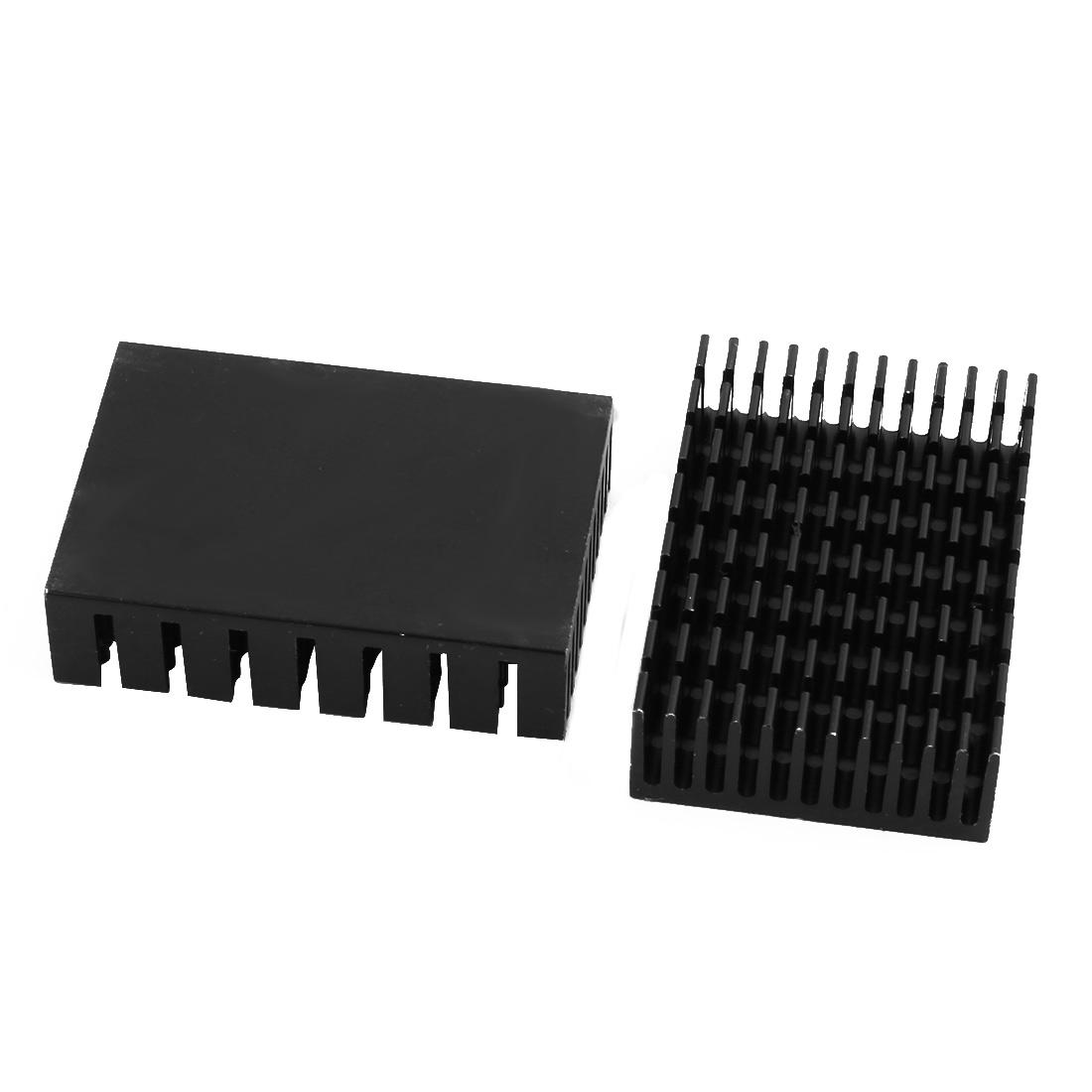 2Pcs 45mm x 31mm x 12mm Aluminum Heatsink Heat Diffuse Cooling Fin Black