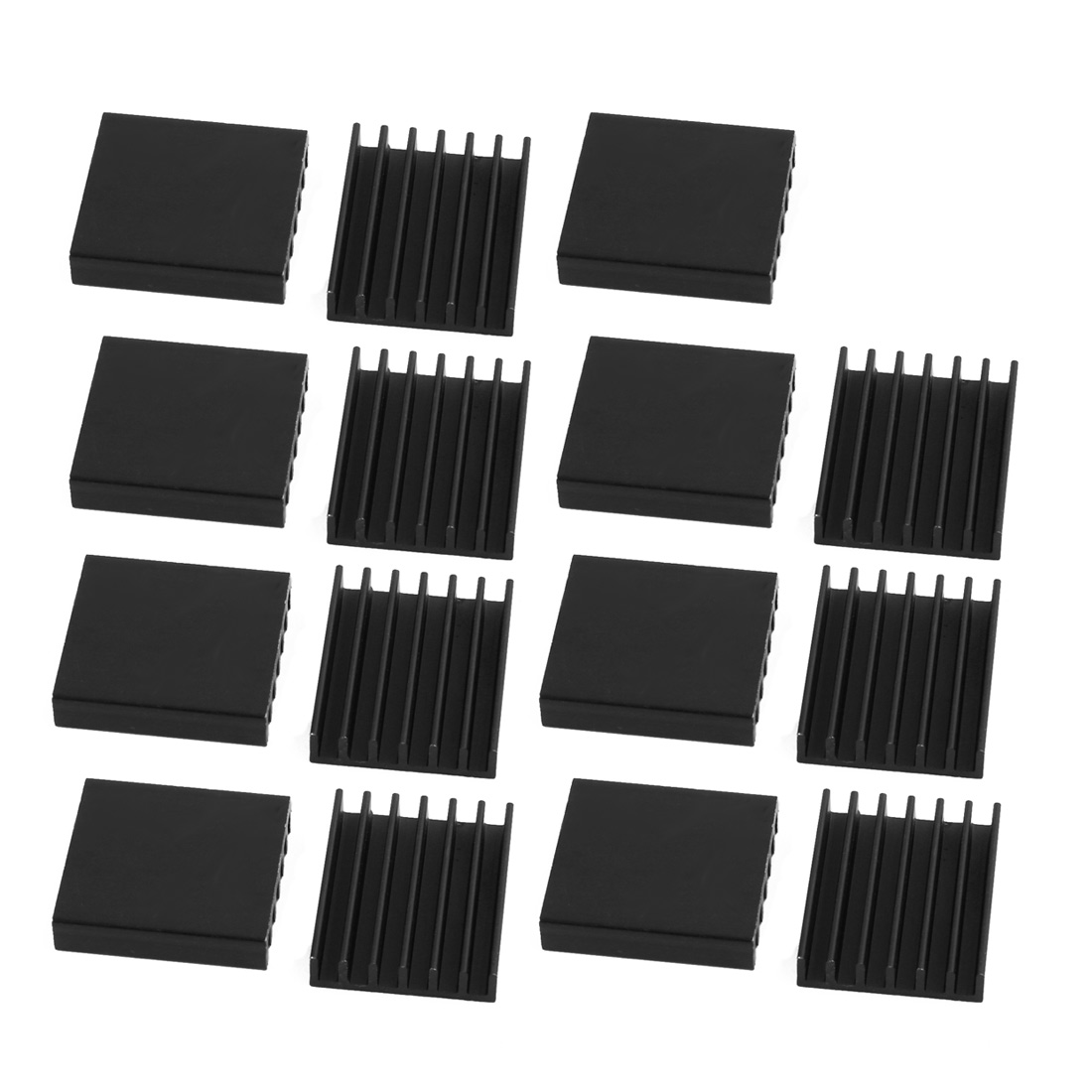 15pcs 14.5mmx16mmx4mm Black Aluminum Heatsink Heat Diffuse Cooling Fin