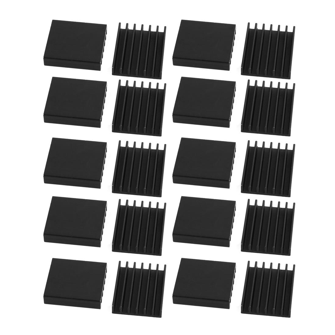 20pcs 14.5mmx16mmx4mm Black Aluminum Heatsink Heat Diffuse Cooling Fin