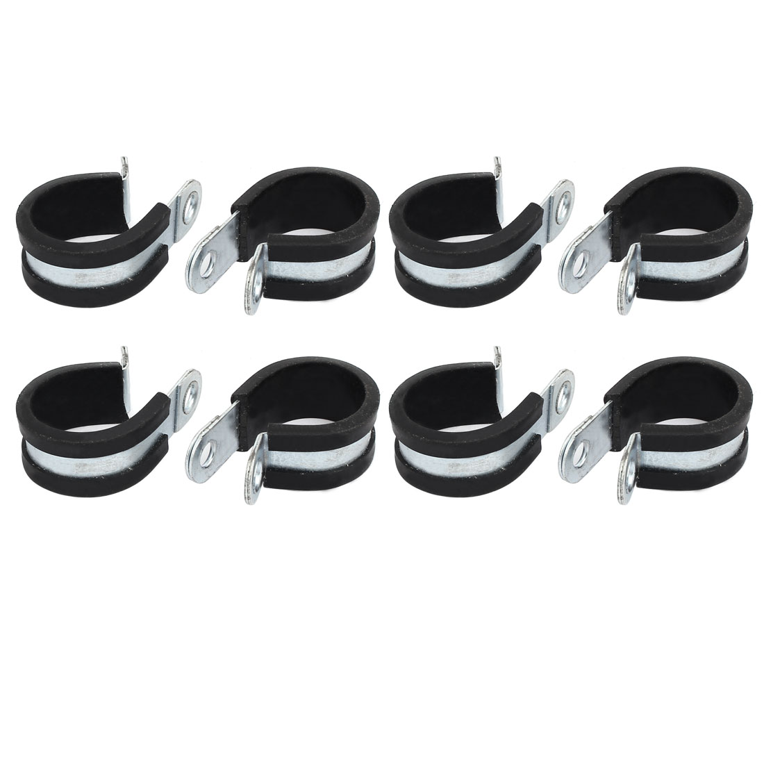 25mm Dia Rubber Lined R Shaped Zinc Plated Pipe Clip Cable Clamp 8pcs