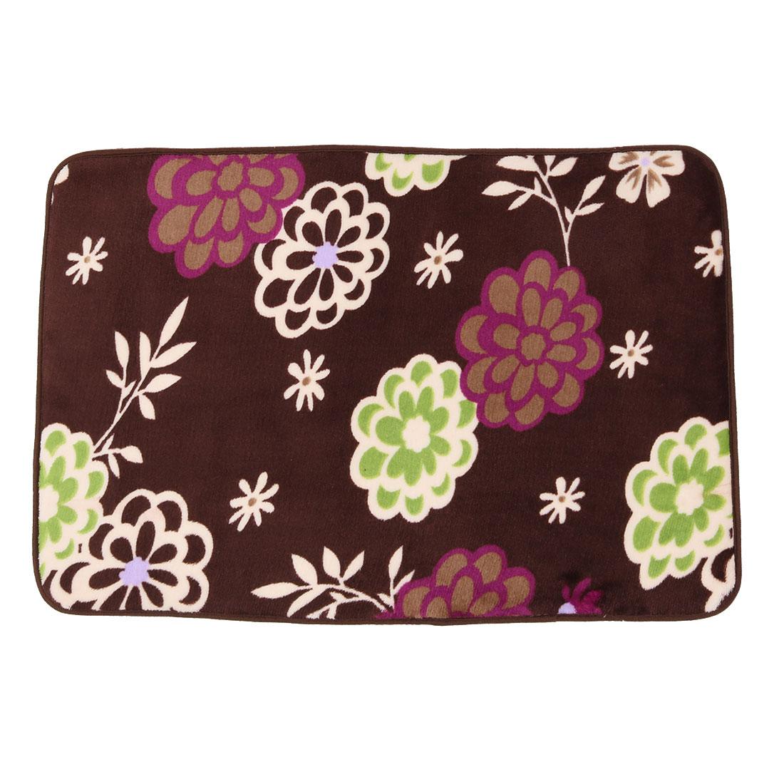 Bedroom Coral Fleece Flower Print Rectangle Washable Floor Carpet Rug Pad Doormat 60 x 40cm