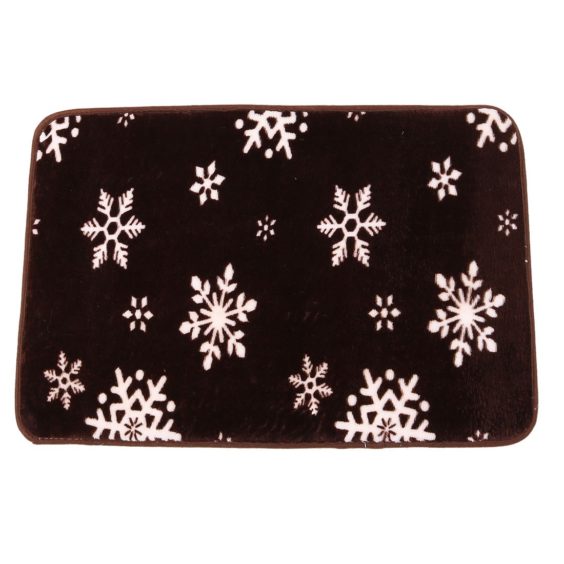 Household Coral Fleece Snowflake Print Rectangle Washable Floor Carpet Rug Pad Doormat 60 x 40cm