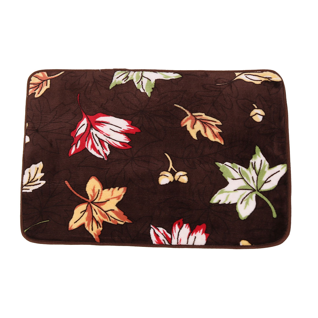 Household Coral Fleece Leaf Print Rectangle Washable Floor Carpet Rug Pad Doormat 60 x 40cm