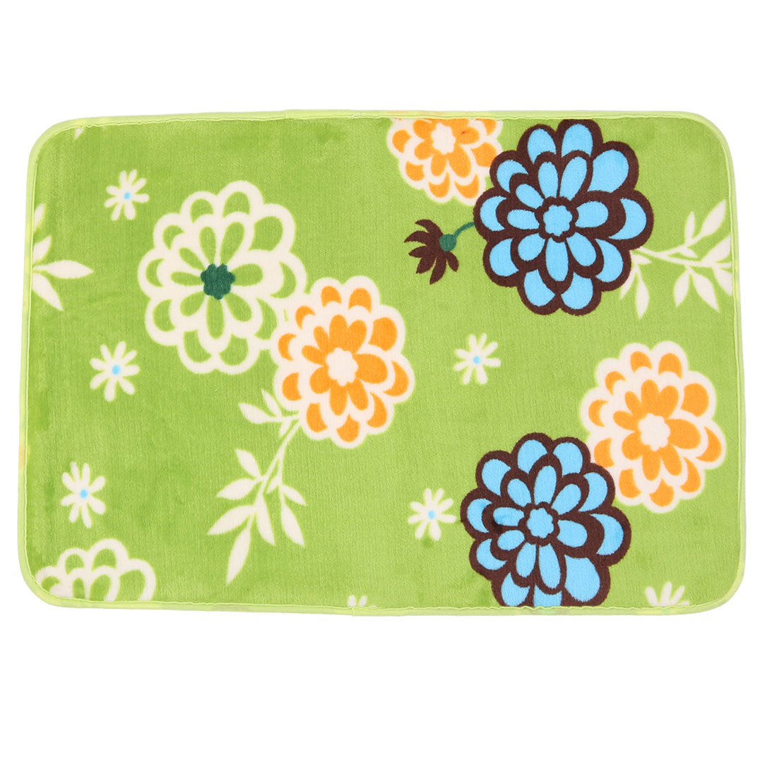 Household Coral Fleece Flower Print Rectangle Washable Floor Carpet Rug Pad Doormat Green
