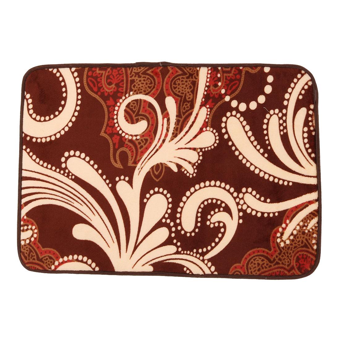 Household Coral Fleece Vine Print Rectangle Washable Floor Carpet Rug Pad Doormat 60 x 40cm