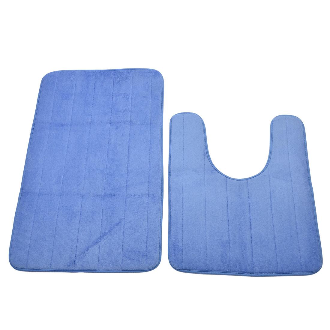 Bath Coral Fleece Floor Nonslip Washable Mat Pad Carpet Rug Doormat Blue 2 in 1