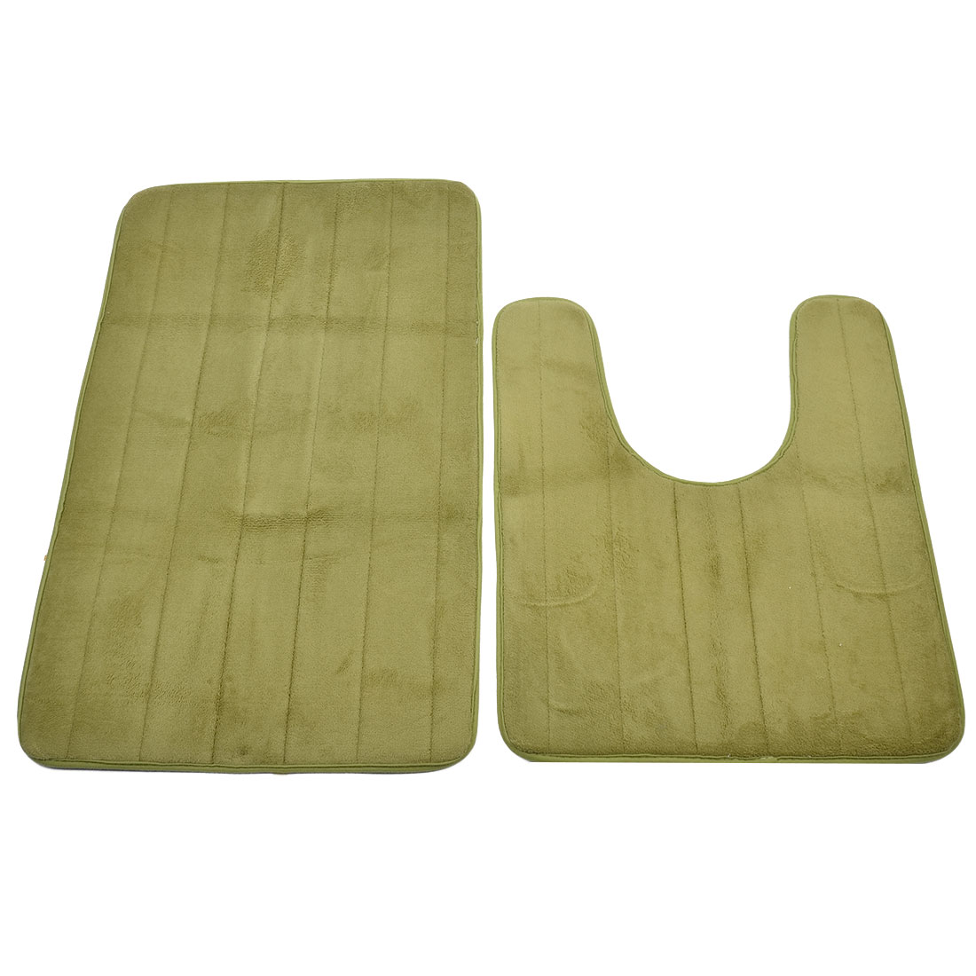 Bath Coral Fleece Floor Nonslip Washable Mat Pad Carpet Rug Doormat Green 2 in 1