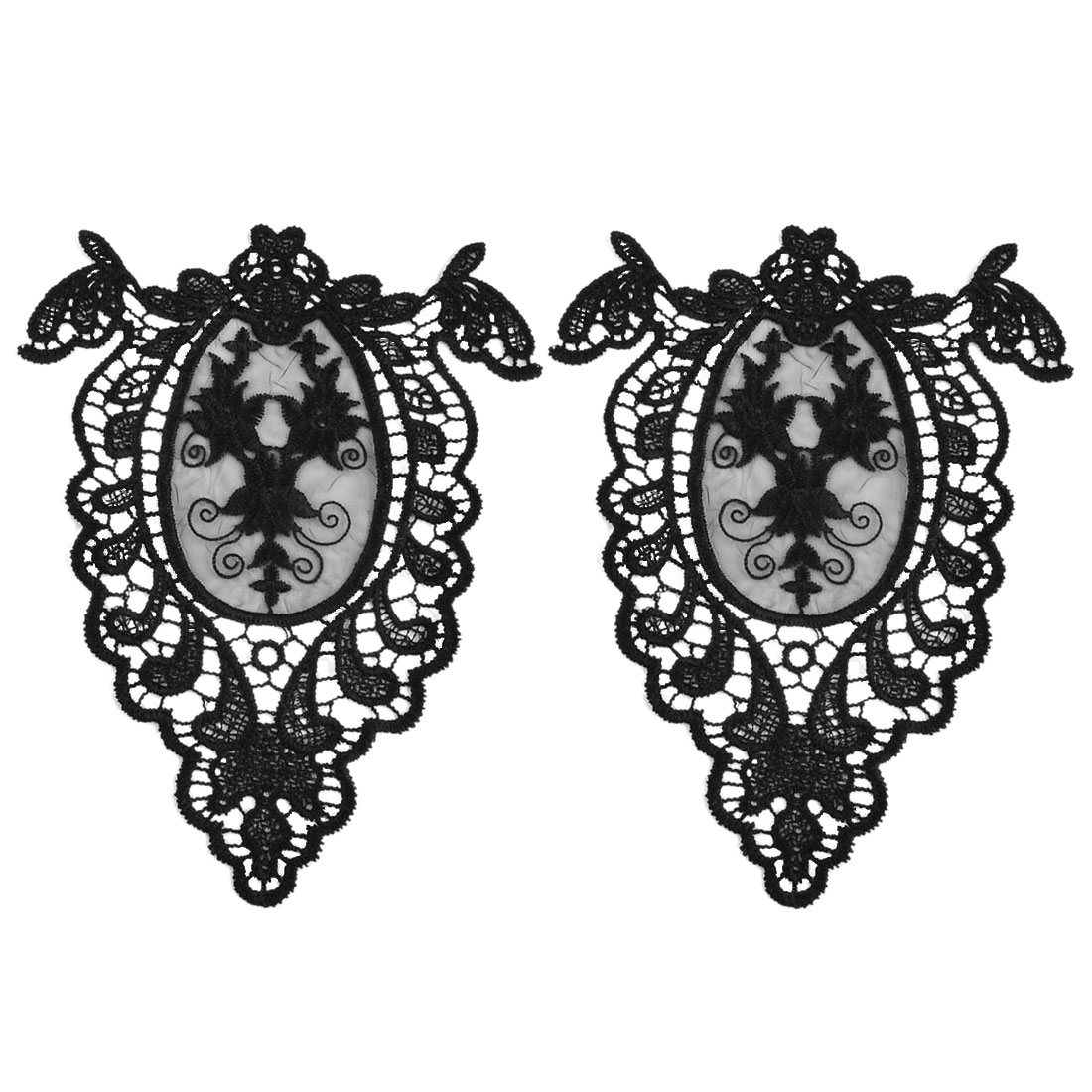 Polyester Hollow Out Design Embroidered DIY Handicraft Collar Patch Sewing Lace Trim Pair