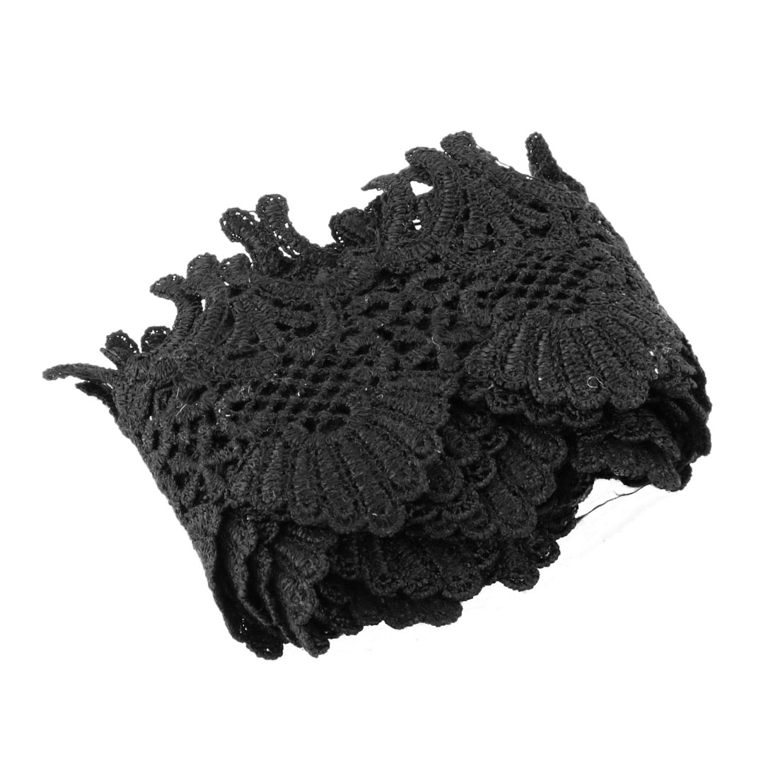 Home Polyester DIY Handicraft Clothes Collar Decor Sewing Lace Trim Black 2.2 Yards