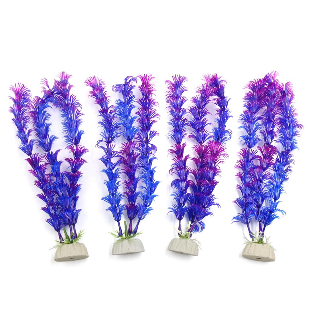 4pcs Purple Plastic Aquarium Plants Fish Tank Water Plant Decorative Ornament